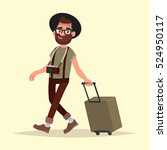air traveler. hipster man with... | Shutterstock .eps vector #524950117