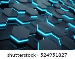 blue abstract hexagonal glowing
