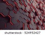 red glowing hexagon futuristic... | Shutterstock . vector #524952427