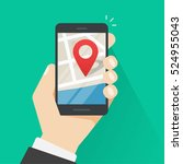 mobile phone geo location  hand ... | Shutterstock .eps vector #524955043