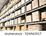 warehouse interior with big box. | Shutterstock . vector #524963317
