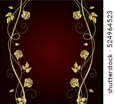 gold flowers with shadow on... | Shutterstock .eps vector #524964523