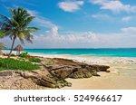 tropical beach in caribbean sea ...   Shutterstock . vector #524966617