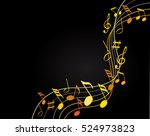 music notes gold on a black... | Shutterstock .eps vector #524973823