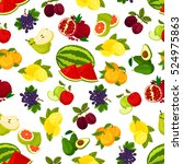 fruits seamless pattern. fresh... | Shutterstock .eps vector #524975863