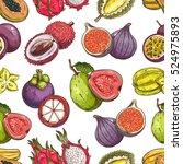 fruits pattern. vector seamless ... | Shutterstock .eps vector #524975893