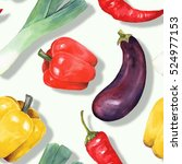 Watercolor Vegetables. Hand...