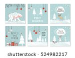set of 6 cute gift cards and... | Shutterstock .eps vector #524982217