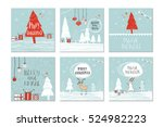 set of 6 cute gift cards and... | Shutterstock .eps vector #524982223