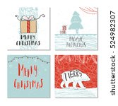 set of 6 cute gift cards and... | Shutterstock .eps vector #524982307