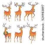 reindeer christmas icon.... | Shutterstock .eps vector #524983897