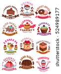 desserts icons and signs.... | Shutterstock .eps vector #524989177