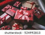 christmas gifts box presents on ... | Shutterstock . vector #524992813