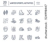 cute thin line icons of winter... | Shutterstock .eps vector #524998447