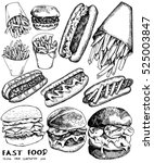 vector set of fast food. vector ... | Shutterstock .eps vector #525003847