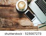 office stuff with smart phone...   Shutterstock . vector #525007273