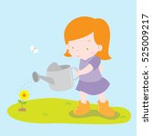 cute drawing of girl watering... | Shutterstock .eps vector #525009217