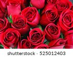 Fresh Red Roses In A Bouquet A...