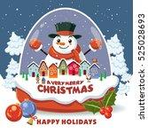 vintage christmas poster design ... | Shutterstock .eps vector #525028693