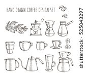 hand drawn coffee related set.... | Shutterstock .eps vector #525043297