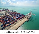 aerial view of cargo ship ... | Shutterstock . vector #525066763