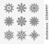 set of various snowflakes | Shutterstock .eps vector #525069997