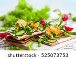 healthy sandwiches with soft... | Shutterstock . vector #525073753