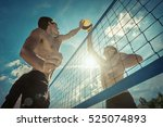 beach volleyball players in... | Shutterstock . vector #525074893