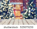 snow on christmas holiday... | Shutterstock . vector #525075253