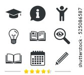 pencil and open book icons.... | Shutterstock .eps vector #525086587