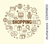 shopping minimal thin line... | Shutterstock .eps vector #525090853