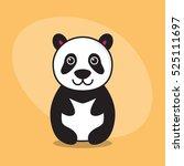 panda cartoon flat cute card on ... | Shutterstock .eps vector #525111697