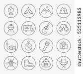 camping thin line icon set | Shutterstock .eps vector #525113983