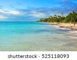 tropical beach in caribbean sea ... | Shutterstock . vector #525118093