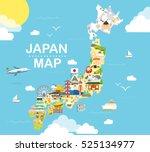 japan travel map in flat...   Shutterstock .eps vector #525134977