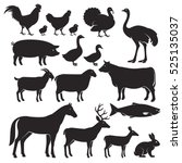 Stock vector farm animals silhouette icons vector illustrations 525135037