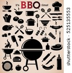 grill  barbecue icon set on... | Shutterstock .eps vector #525135553
