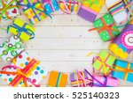 colored gift boxes with... | Shutterstock . vector #525140323