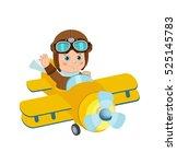 cute boy pilot flies on a...   Shutterstock .eps vector #525145783