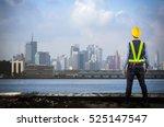 engineer holding a yellow... | Shutterstock . vector #525147547