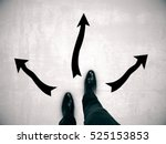 man's feet on concrete floor... | Shutterstock . vector #525153853