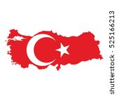 flag map of turkey | Shutterstock .eps vector #525166213
