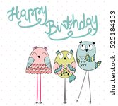 funny owls in vector. greeting... | Shutterstock .eps vector #525184153