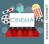 abstract cinema flat background ... | Shutterstock .eps vector #525204877