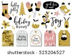 christmas hand drawn set  ... | Shutterstock .eps vector #525206527