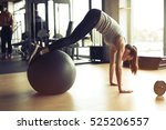 athletic woman exercising with...   Shutterstock . vector #525206557