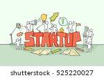 cartoon working little people... | Shutterstock .eps vector #525220027