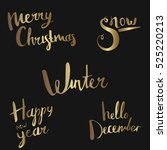snow. christmas calligraphy.... | Shutterstock .eps vector #525220213