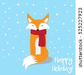 cute fox in the snow greeting... | Shutterstock .eps vector #525227923