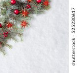 fir branch with christmas... | Shutterstock . vector #525230617